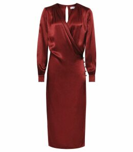 Reiss Renae - Satin Wrap Front Dress in Raspberry, Womens, Size 16