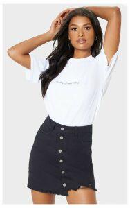 Black Step Hem Button Through Denim Skirt, Black
