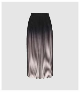 Reiss Marlie - Ombre Pleated Midi Skirt in Neutral/black, Womens, Size 14