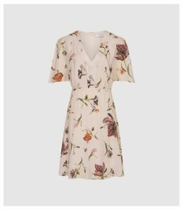 Reiss Ruby - Floral Printed Day Dress in Floral White, Womens, Size 16