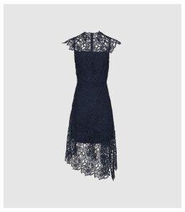 Reiss Ivana - Lace Asymmetric Hemline Dress in Navy, Womens, Size 16