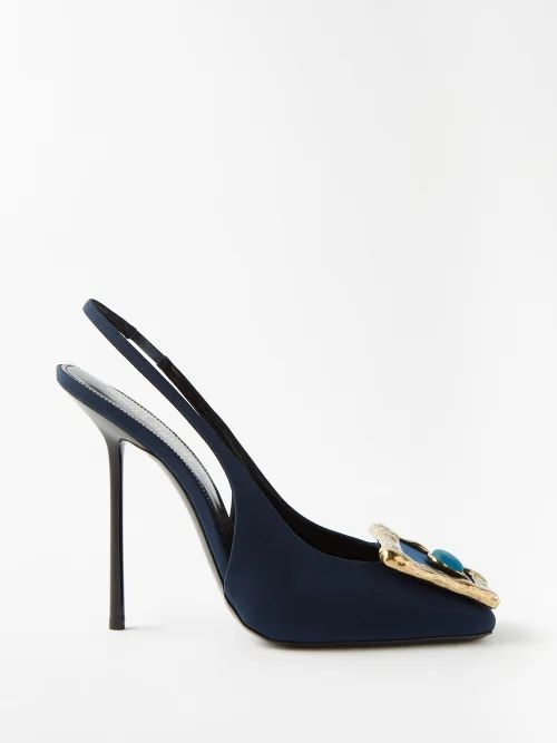 Zeus + Dione - Scorpio Leather Trimmed Raffia Basket Bag - Womens - Orange Multi