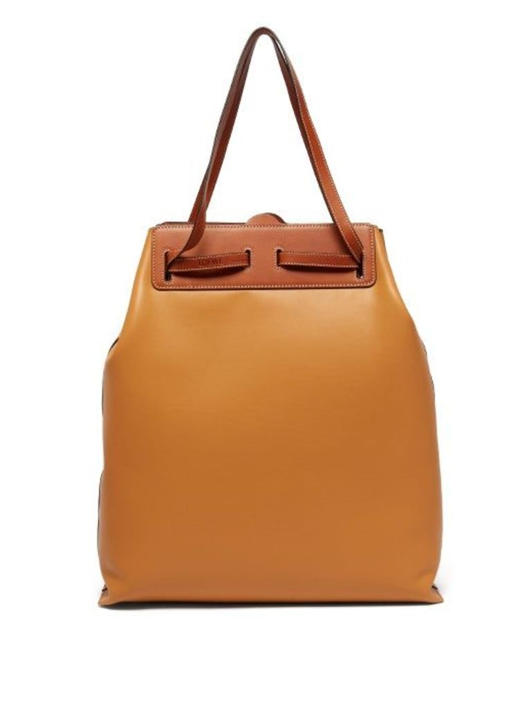 Loewe - Lazo Contrast Panel Leather Tote Bag - Womens - Tan