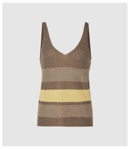 Reiss Maria - Metallic Striped Knitted Top in Brown, Womens, Size XXL