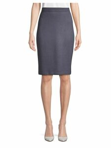 Textured Wool Blend Pencil Skirt