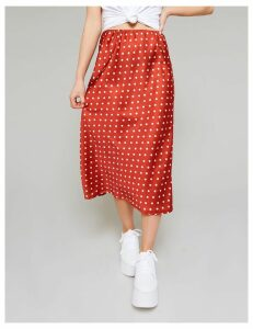 Rust Polka Dot Bias Cut Satin Midi Skirt, Red