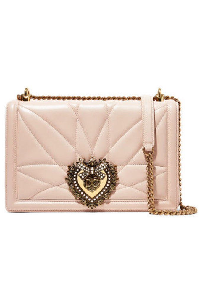 Dolce & Gabbana - Devotion Embellished Quilted Leather Shoulder Bag - Pastel pink