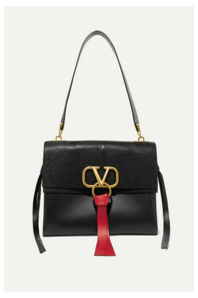 Valentino - Valentino Garavani Vee Ring Medium Lizard And Leather Shoulder Bag - Black