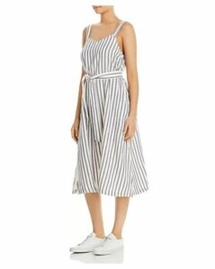 Three Dots Sleeveless Striped Cotton Dress