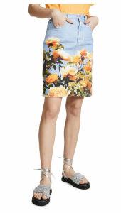 MSGM Floral Denim Skirt