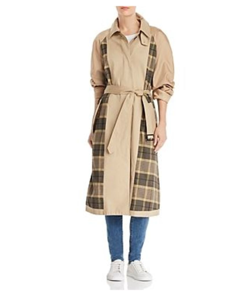 French Connection Anais Plaid-Detail Trench Coat