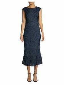 Embroidered Flounce-Hem Sheath Dress