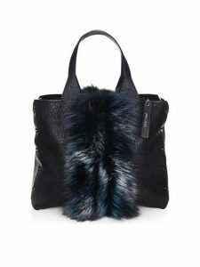 Lockett Fox Fur & Grained Leather Tote