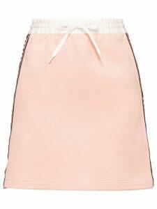 Miu Miu logo racing stripes skirt - Pink