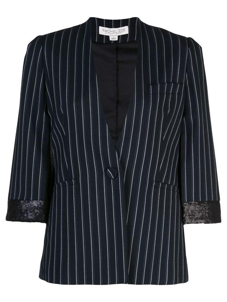 Rachel Zoe pinstripe cropped sleeve blazer - Blue