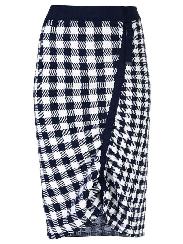 Jonathan Simkhai gingham asymmetric pencil skirt - Black