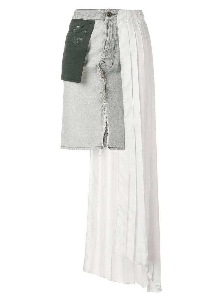 Unravel Project asymmetric contrasting panel jean skirt - Grey