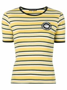 Alexa Chung logo patch striped T-shirt - Yellow