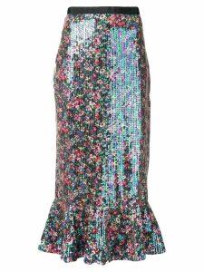 Saloni iridescent sequin mermaid skirt - Black