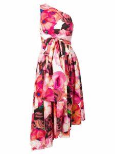 MSGM one shoulder floral dress - Pink