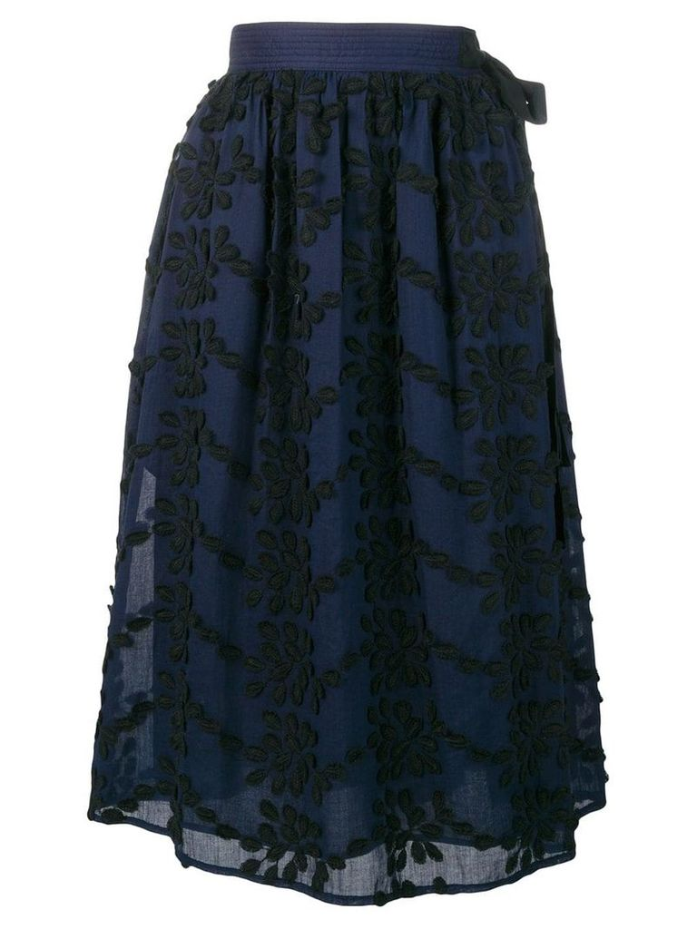 Vanessa Bruno floral embroidery skirt - Blue