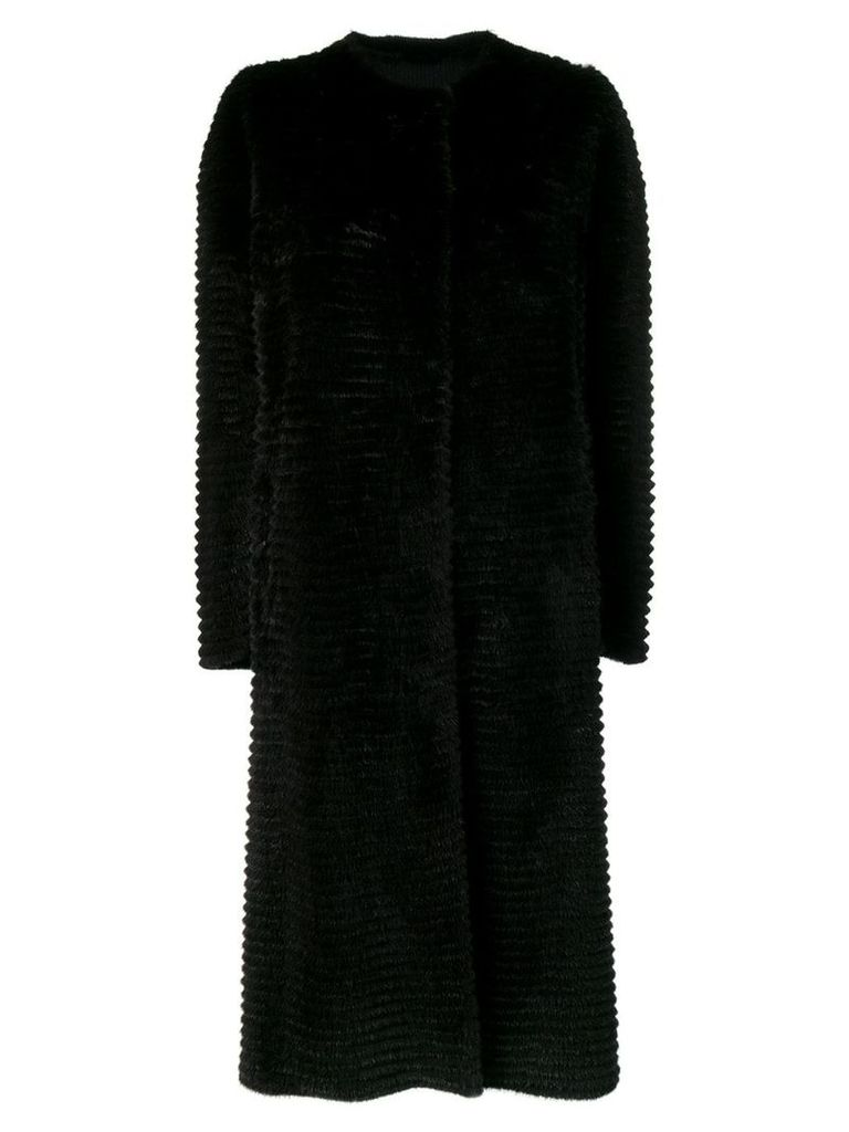 Liska textured single-breasted coat - Black