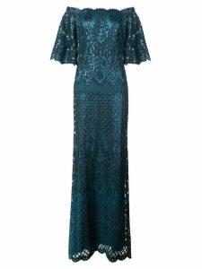 Tadashi Shoji Aimee off-shoulder sequin embroidered gown - Green