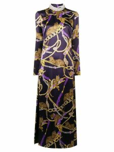 Alessandra Rich long silk dress - Purple