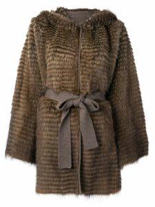 Liska belted fur coat - Brown