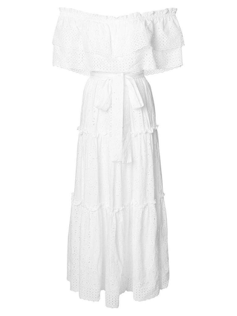 Love Shack Fancy off shoulder tiered dress - White