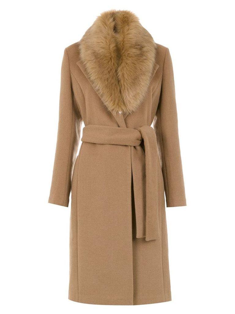Tufi Duek fuzzy detail trench coat - Neutrals