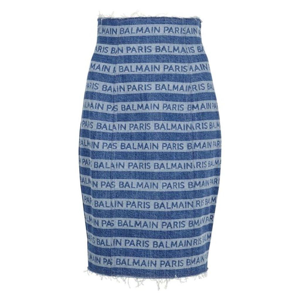 Balmain Striped Logo-print Denim Skirt