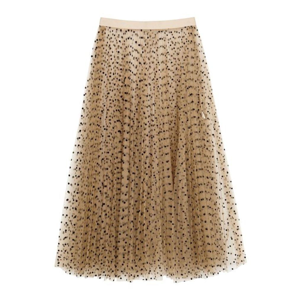 Khaite Elisabetta Coffee Tulle Skirt