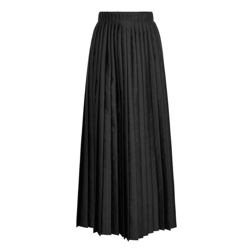 MM6 By Maison Margiela Black Pleated Satin Wrap Skirt