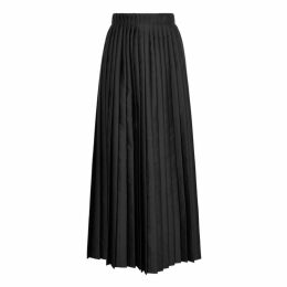 MM6 By Maison Margiela Black Pleated Satin Wrap Skirt