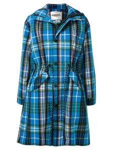 Essentiel Antwerp check hooded coat - Blue