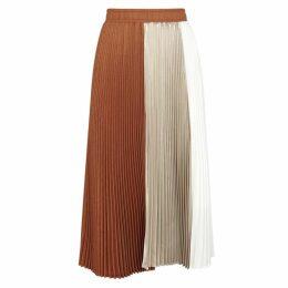 Clu Colour-block Pleated Satin Midi Skirt