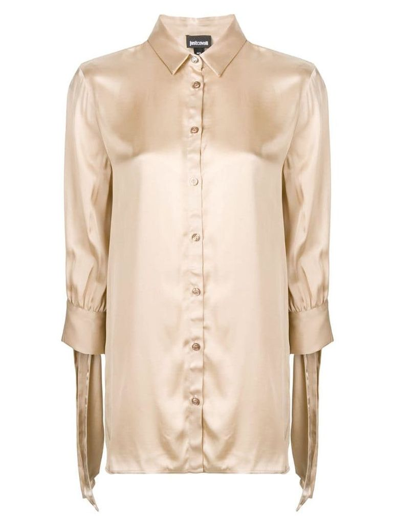 Just Cavalli draped-sleeve fitted blouse - Neutrals