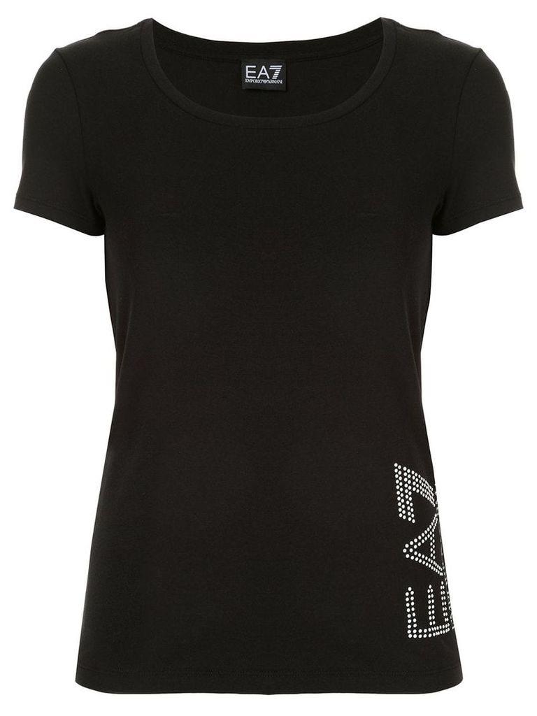 Ea7 Emporio Armani embellished logo T-shirt - Black