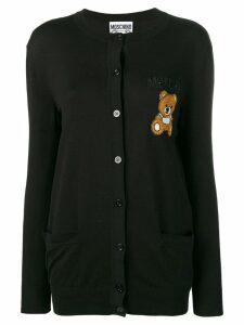 Moschino teddy applique cardigan - Black