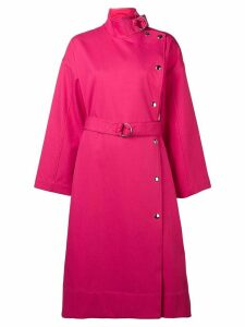 Yves Salomon belted twill coat - Pink