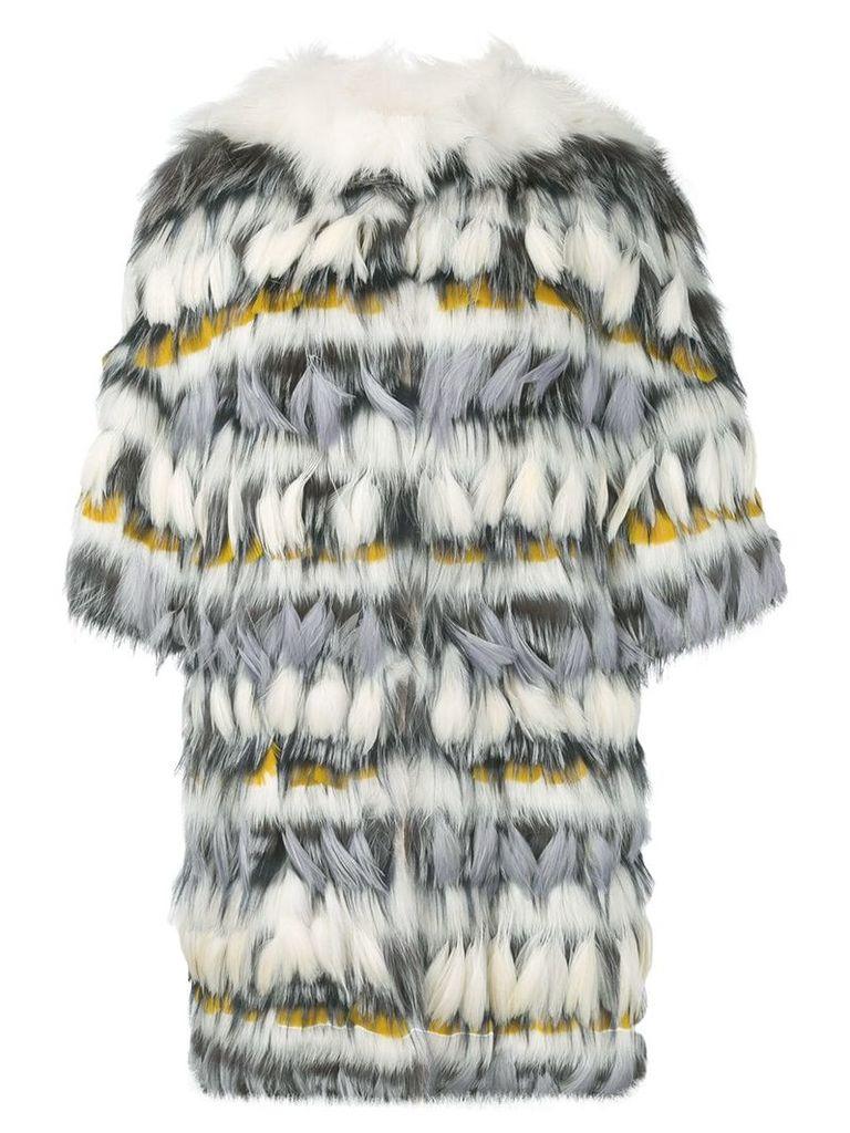Yves Salomon fur and feather coat - White