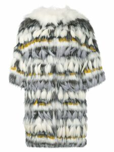 Yves Salomon fur and feather coat - White