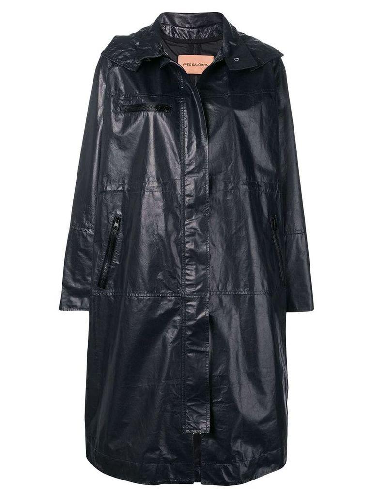 Yves Salomon oversized leather parka - Blue