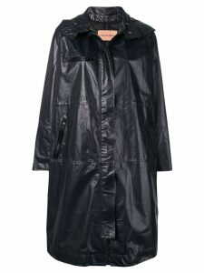Yves Salomon oversized leather parka - Blue