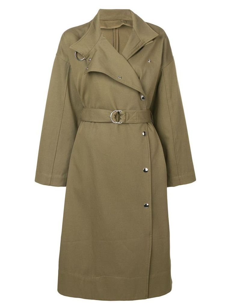 Yves Salomon long belted twill coat - Green