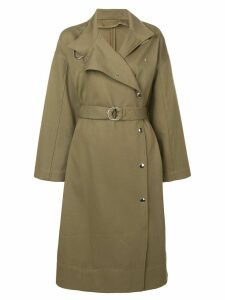 Yves Salomon long belted twill coat - Green