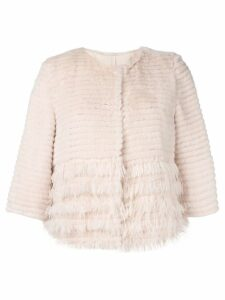 Yves Salomon cropped fur and feather jacket - Neutrals