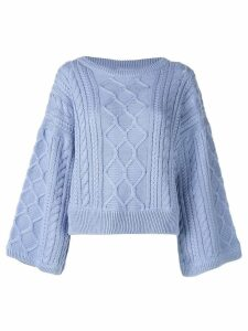 I Love Mr Mittens cabled kimono sleeve jumper - Blue