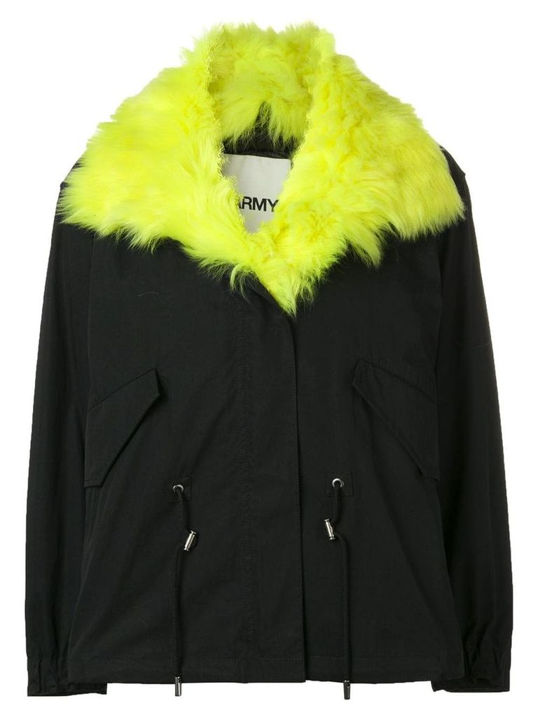 Yves Salomon Army short parka with fox fur collar - Blue